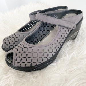 J-41 Journey heeled clog open toe leather shoes